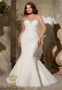Embroidered Appliques on Net Edged with Crystal Beading Mermaid Plus Size Wedding Dress pictures & photos