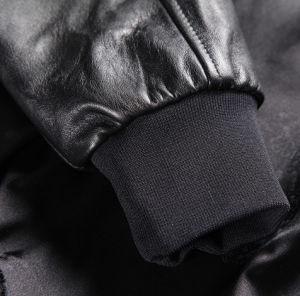 New Fashion Winter European Style Stand Collar Zip Cuffs Men Burgundy Biker Genuine Leather Jacket pictures & photos