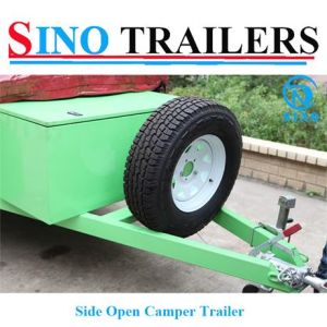 Green Color Side Open Camper Trailer