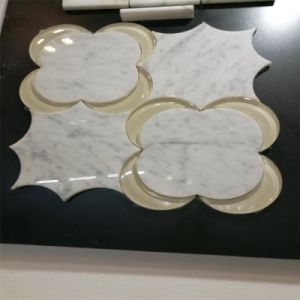Popular Waterjet Style Irregular Mosaic Tile Glass Mix Marble Mosaic pictures & photos