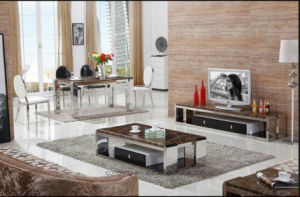 French Modern Glass Top Stainless Steel Base coffee Table