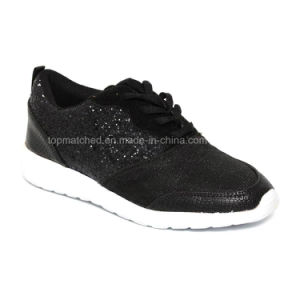 Ladies Glitter Lace up Trainer Casual and Sports Shoes pictures & photos