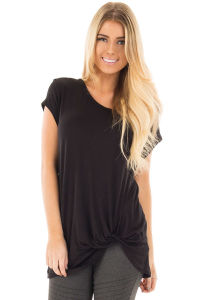 Front Knot Short Sleeves Tee pictures & photos