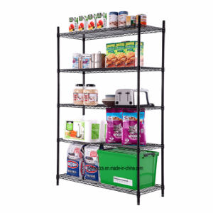 5 Tier Freestanding Black Epoxy Coated Metal Storage Wire Shelving Unit pictures & photos