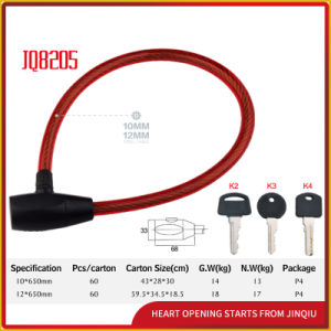 Jq8205high-Quality Bicycle Lock Motorcycle Steel Cable Lock with Pvu pictures & photos