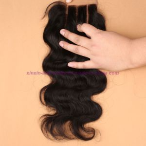 8A Grade Virgin Unprocessed Hair Indian Body Wave Bundles with Lace Closure Human Virgin Hair pictures & photos