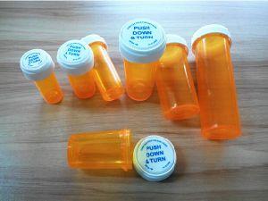 Various Colors Pharmacy Rx Prescription Weed Flip off Cap Child Proof Bottles Reversible Top Vials pictures & photos
