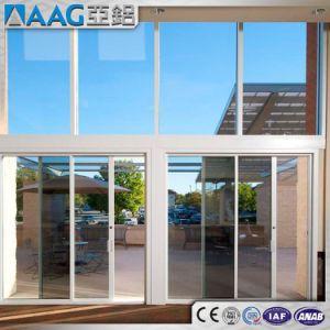 High Quality China Shopping Aluminum Double Glass Folding Sliding Doors pictures & photos