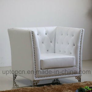 Luxury Pure White Armchair with Iron Carving Base for Living Room (SP-HC575) pictures & photos