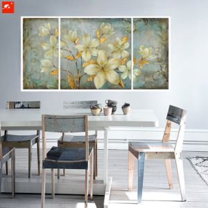 Floral Wall Picture Gold Tones Gardenia Oil Painting Set pictures & photos
