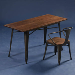 Industrial Retro Wooden Top Tolix Rectangle Bar Table (SP-BT703) pictures & photos