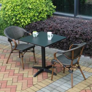 Patio Rattan Furniture Aluminum Plate Table Textilene Wood Arm Chair (J825) pictures & photos