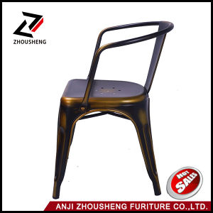 Metal Stackable Vintage Style Dining Chairs Antique Copper Metal Dining Chair with Armrest pictures & photos