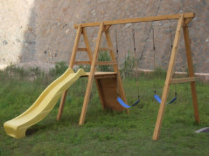 out Door Playground Wooden Children Swing and Slide Set (01)