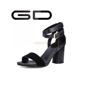 Custom Ladies Popular Big Size Leather High Heel Sandals pictures & photos