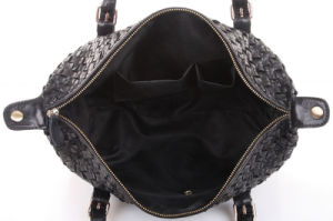Wholesale Lady Genuine Leather Knitted Handbag Sheepskin Tote Bag pictures & photos