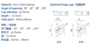 90 Degree Angle Cabinet Hinge Concealed Hinge pictures & photos