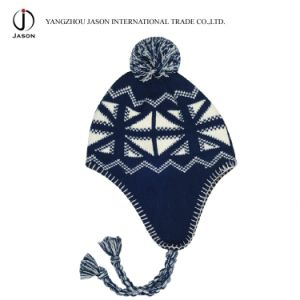 Winter Ear Flap Kitted Toque Warm Acrylic Bobble Hat pictures & photos