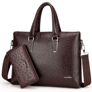 Men Business Bag Leather Briefcase Ostrich Laptop Bag