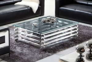 Shiny Stainless Steel Base Clear Tempered Glass Top Coffee Table T-109 pictures & photos