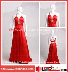 Sexy Women V-Neck Beaded Evening Dress Low Back Satin Red Satin Prom Dress (TC06608)