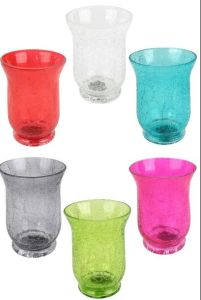 Crackle Glass Hurricane Lamp Candle Holder