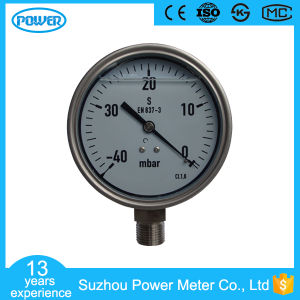 100mm Full Stainless Steel 40mbar Capsule Pressure Gauge with Glycerin Oil pictures & photos