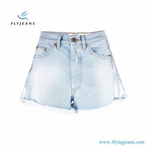 Skinny Women Blue Bleached Denim Short pictures & photos