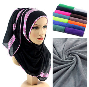 Wholesale-Ladies Jersey Cotton Infinity Solid Color Scarf Shawl Muslim Hijab