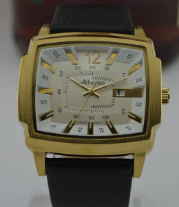 Golden Alloy Anolog Quartz Man Watch with Date Window, Leather Band (210)