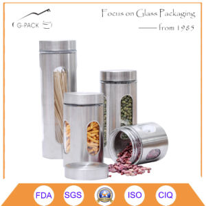 4sets Glass Canister with Stainless Steel Cover and Cap pictures & photos