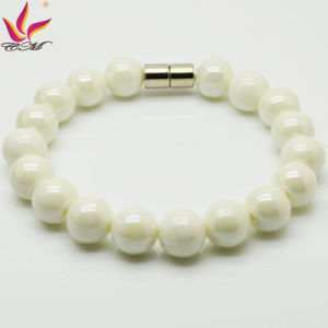 Tmb019 10mm Fashion Healthy Care Bead Bracelet in Tourmaline Negative Ion Material White Color pictures & photos