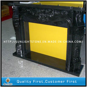 Carved Black Marble Stone Fireplace for Indoor pictures & photos