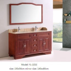 Solid Wood Cabinet Vanity with Ceramic Basin Mirror pictures & photos