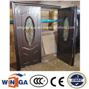 Double Doorleaf Exterior Podwer Coating Security Steel Glass Door (W-SD-10) pictures & photos