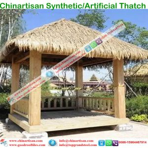 Elegant PE/PVC Artifical Palm Synthetic Thatch Roof Beach Umbrella For Resort  Cottage Water Bungalow