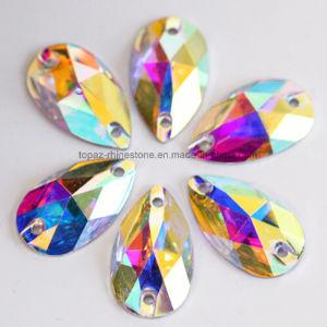 Silver Foil Rhinestone Crystal Ab Flat Back Sew on Rhinestone (SW-tear drop 17*28mm) pictures & photos