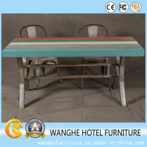 Modern African Design Solid Wood High Color Dining Table with Metal Chair pictures & photos