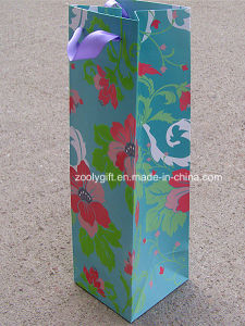 Custom Printing Wine Bottle Paper Bag with Flocking Design Finished pictures & photos