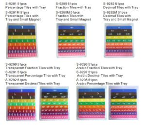 Fraction Tiles With Small Magnet and Tray, Magnetic Fraction Tiles With Tray, Math Fraction Board, Arabic Fraction Board (S-9280)