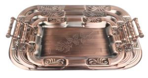 Antique Copper Food Tray with Rose for Famliy Party pictures & photos