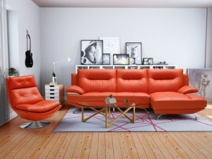 Small Modern Red Leather Sofa with Chair (612) pictures & photos