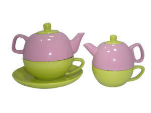 Color Glazed Teapot and Cups