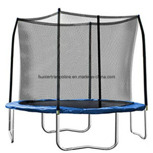 10FT Blue Round Trampoline with Safety Enclosure Net and 4 Legs