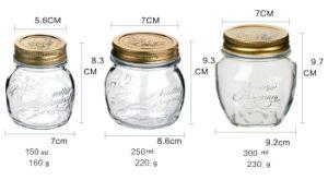 Old Masion Jar of 250ml 300ml 500ml Screw Lid Cap pictures & photos