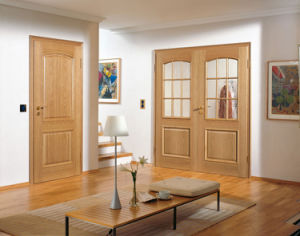 Interior Swinging Wood Door with Lead Glass Inserts pictures & photos