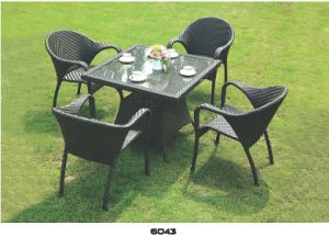 Outdoor Black PE Rattan Wicker Sofa Set Furniture Sale pictures & photos
