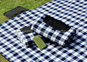Picnic Waterproof 100% Polyester Fleece Blanket with Handle (XWN-YC003)