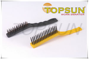 Plastic Handle Carbon Steel&Copper Plated Cleaning Wire Brush