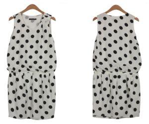 Lady Fashion Dots Dress/ Garment/ Apparel (T002)
